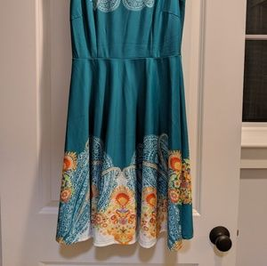 Aryeh teal polyester/spandex dress